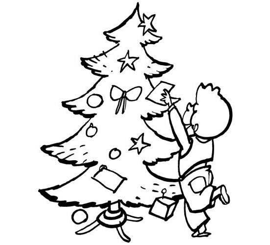 Desenhos de Natal para colorir – Menino decorando a arvore