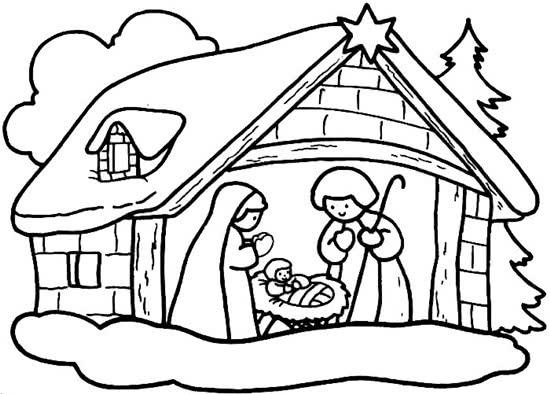 Desenhos de Natal para colorir – Presépio