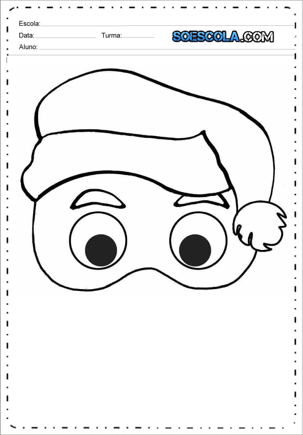 Máscaras de Natal - Para Imprimir - Papai Noel, Rena e Boneco de Neve