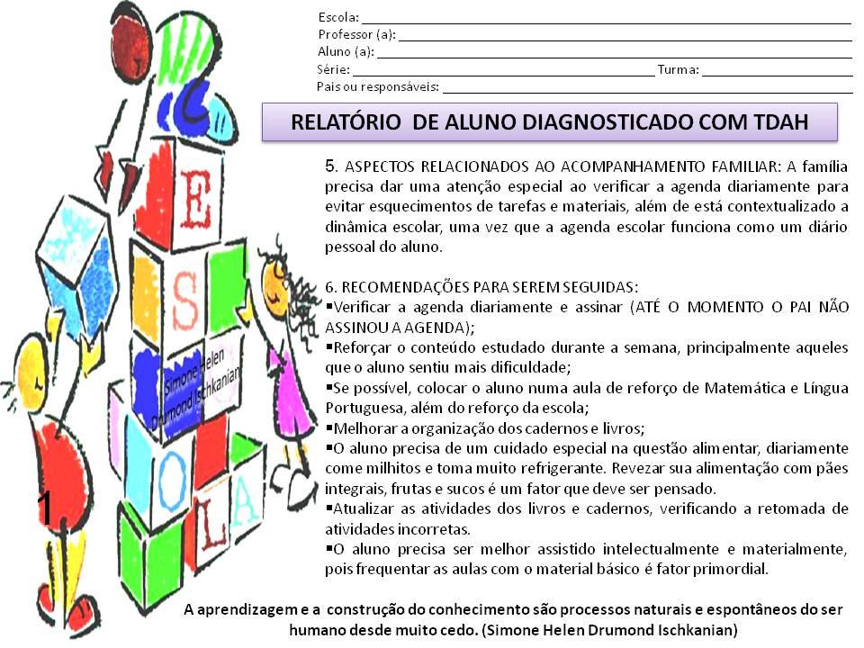Modelo de Relatório para alunos diagnosticado com TDAH