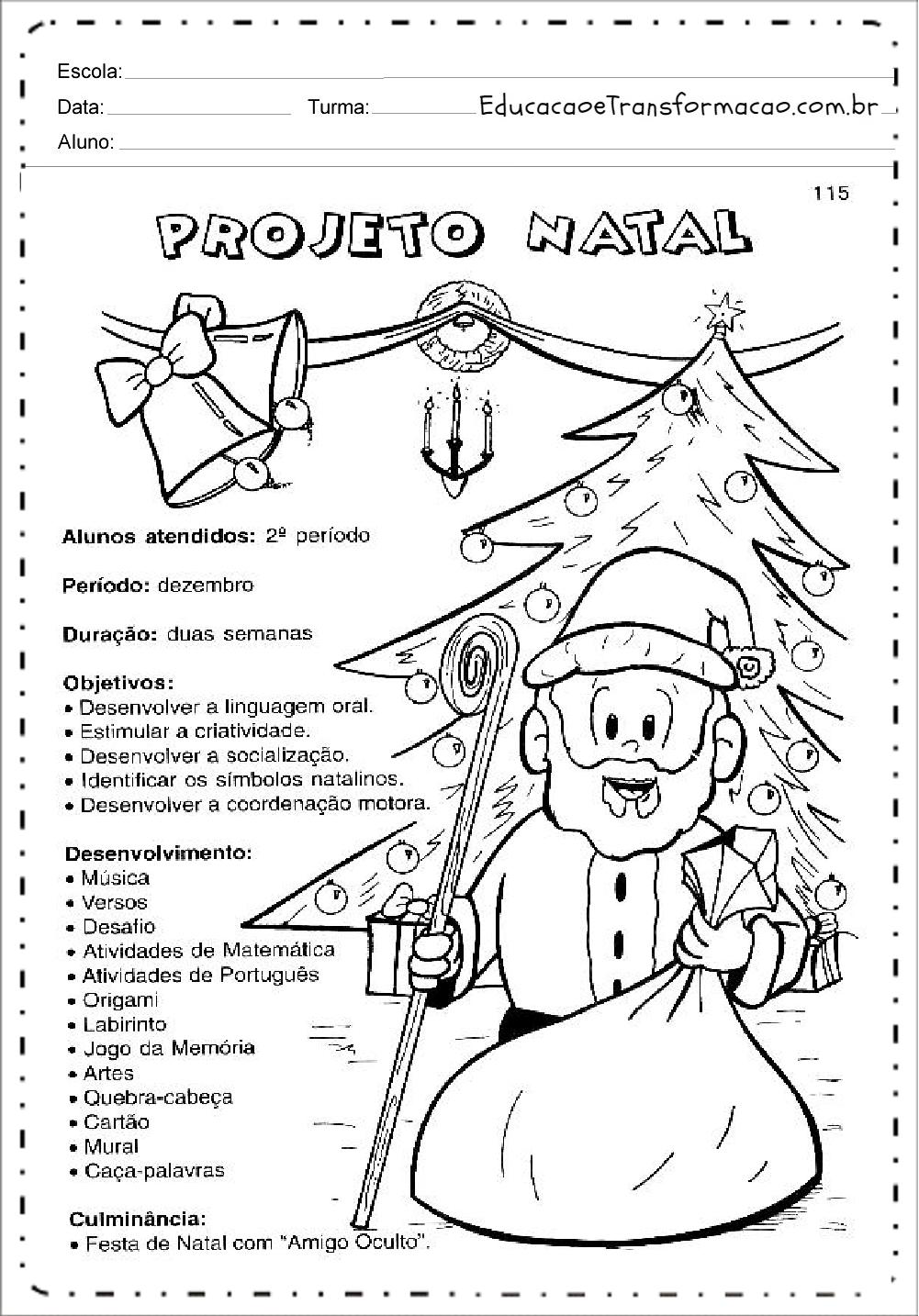 Projeto de Natal para Series Iniciais - Para imprimir