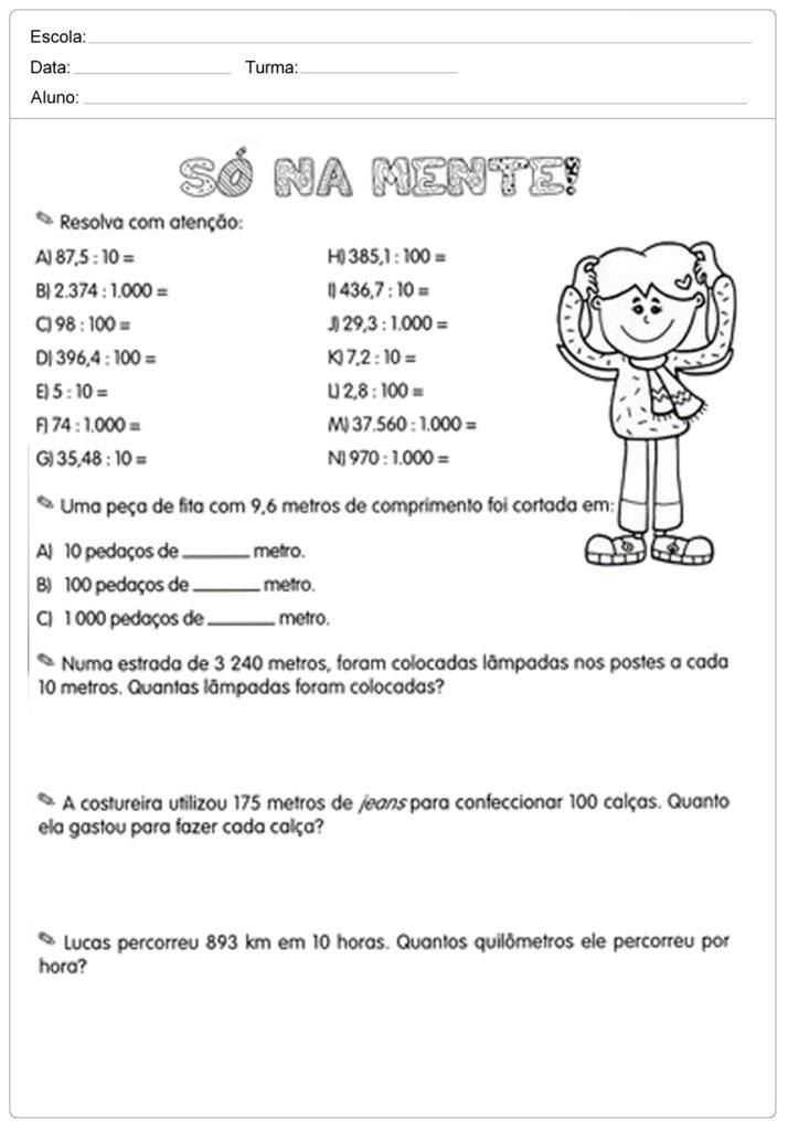 Atividades com Números Decimais para imprimir e baixar em PDF