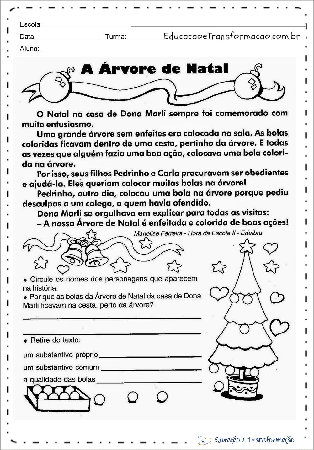 Atividades de Natal 1 ano do Ensino Fundamental pra imprimir