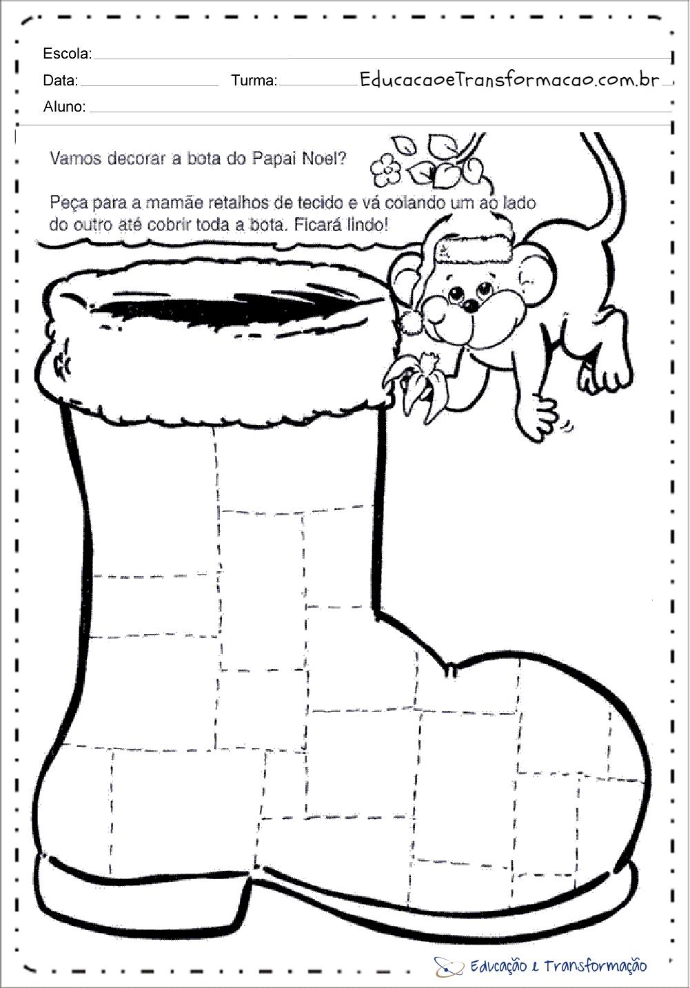 Decorar Bota de Natal – Atividades de Natal para educação infantil.
