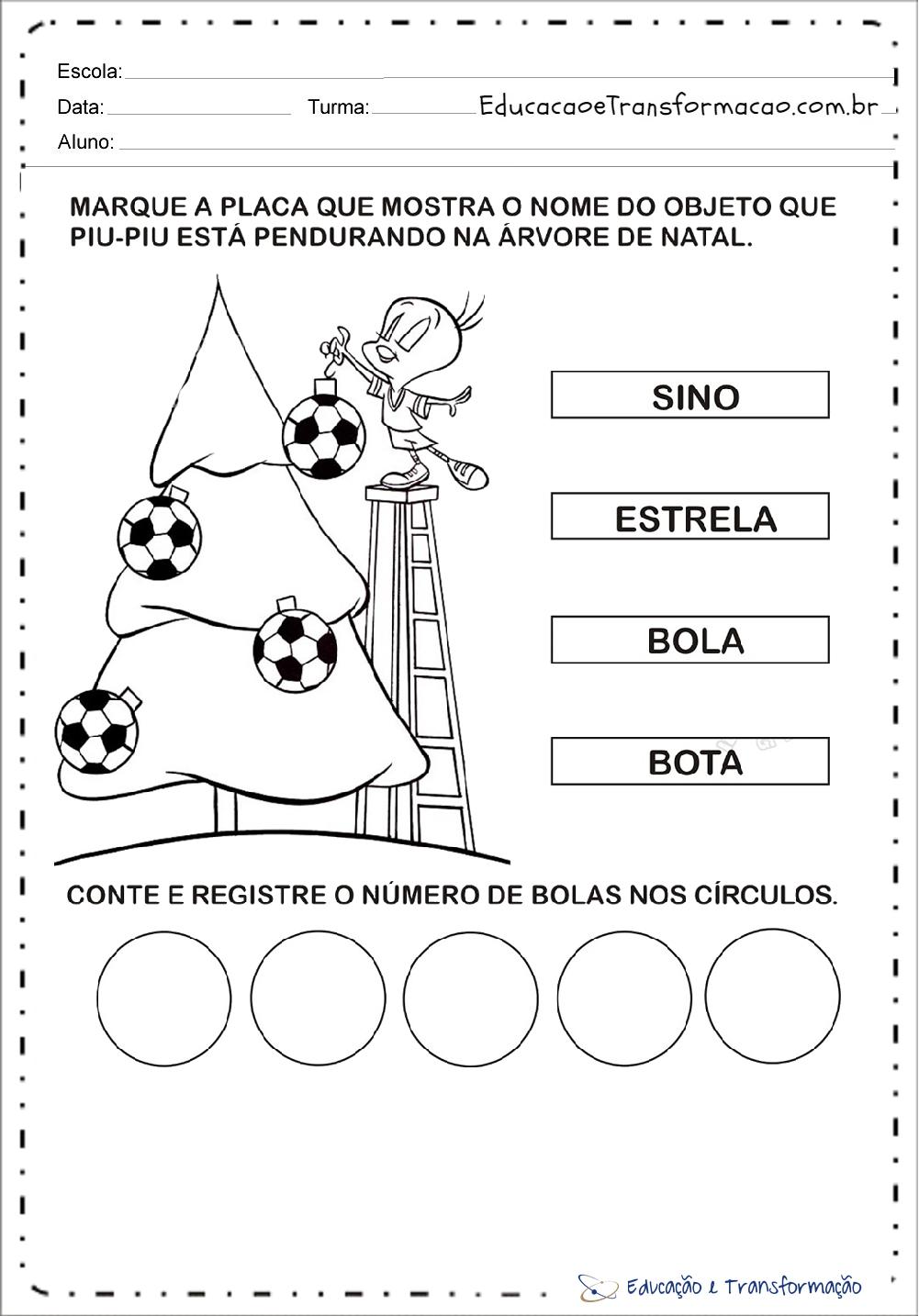 Muito de Natal para educação infantil - Para imprimir - Series Iniciais AW92