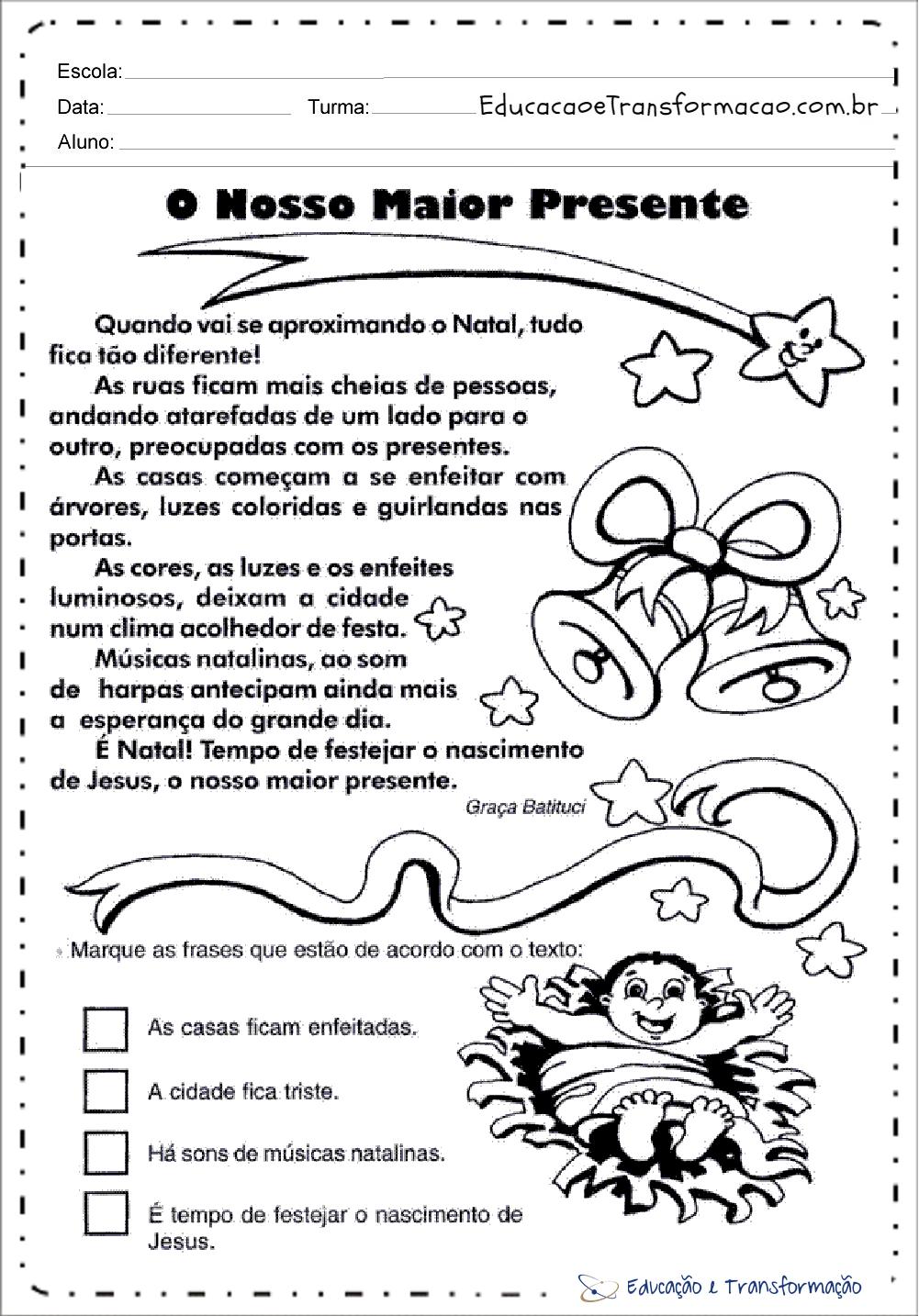 Atividades de Natal para educação infantil - Para imprimir - Series Iniciais