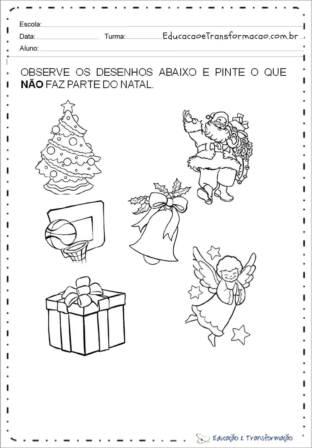Super Observe os desenhos - Atividades de Natal para educação infantil  GV67