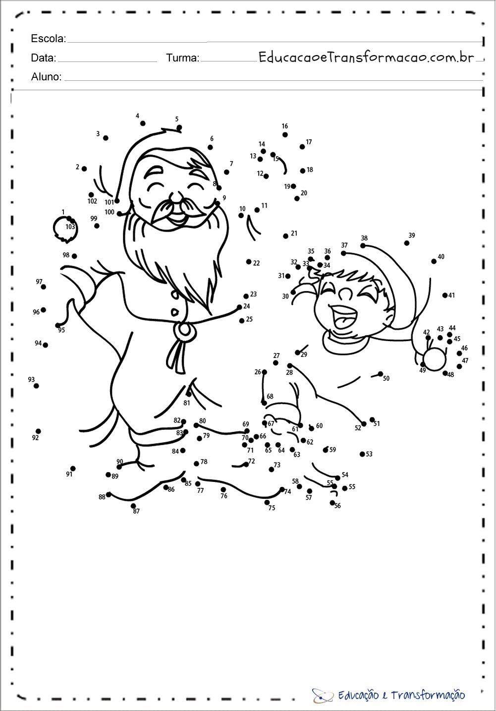 Pontilhado – Atividades de Natal para educação infantil.