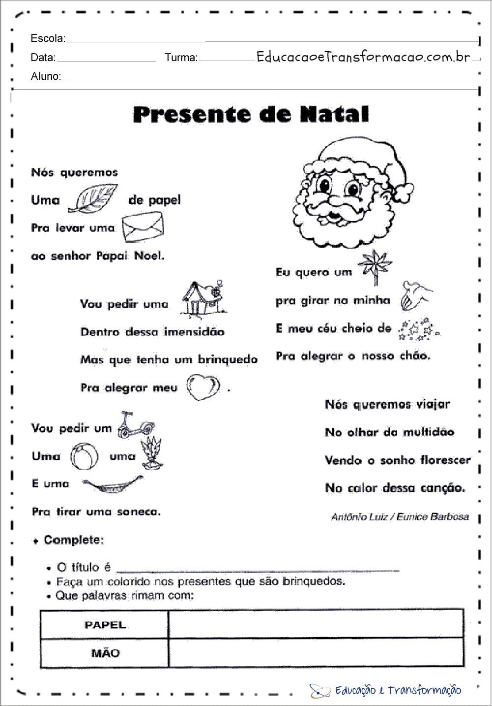Presente de Natal – Atividades de Natal para educação infantil.