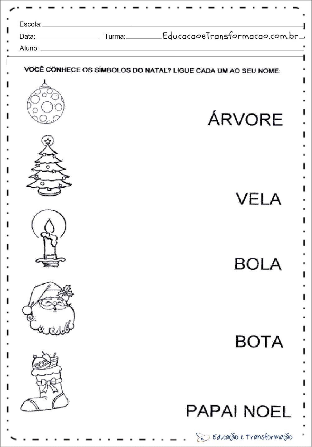 Símbolos do Natal – Atividades de Natal para educação infantil.