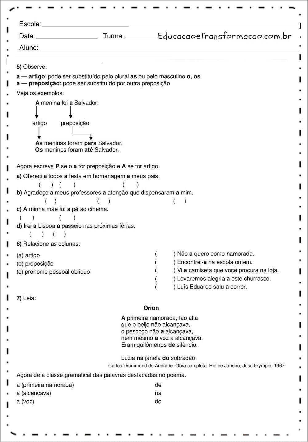 Atividades de Português 7 ano - Ortografia - Gramática - Interpretação