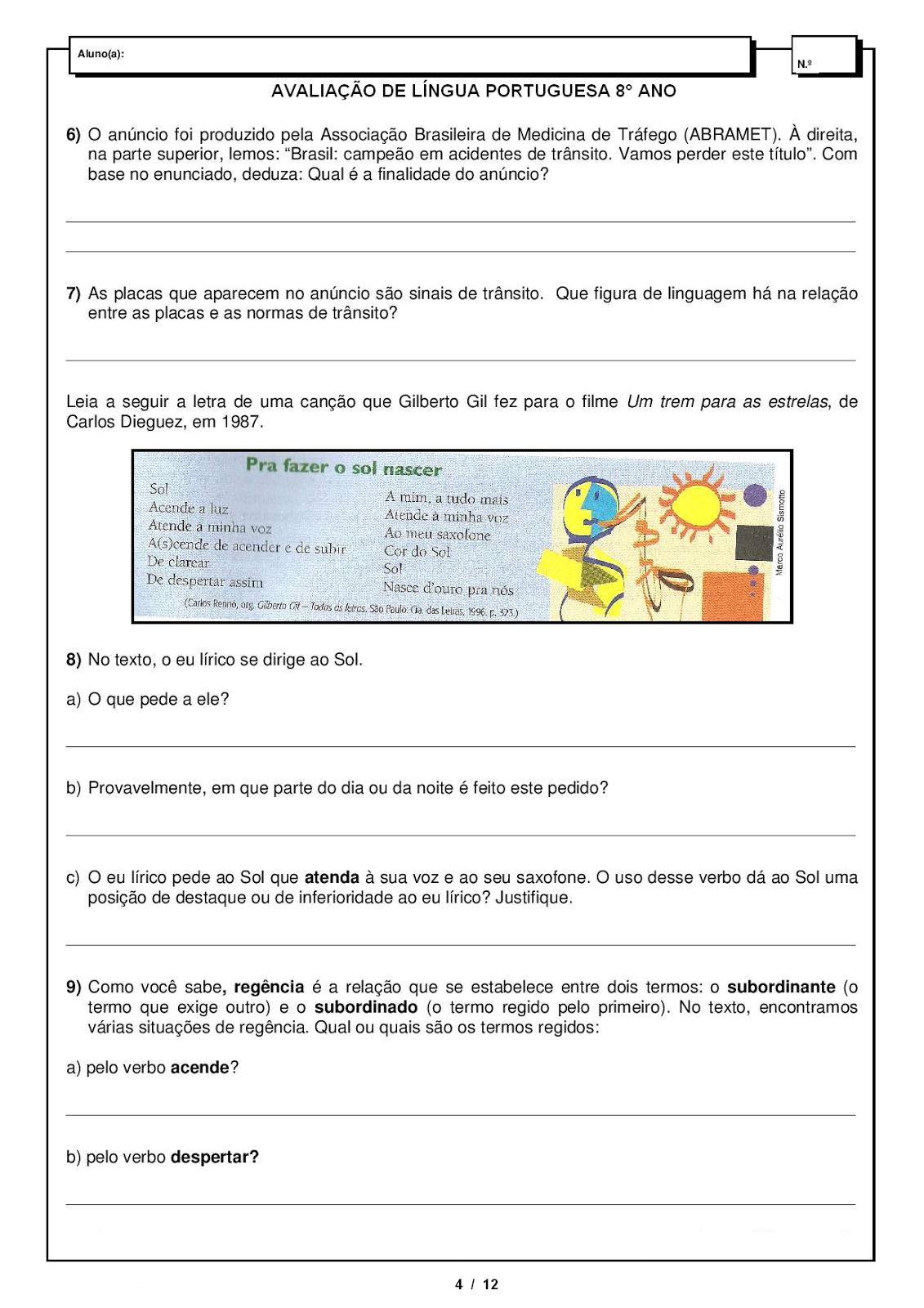 Atividades de Português 8 ano - Interpretação - Gramática - Ortografia