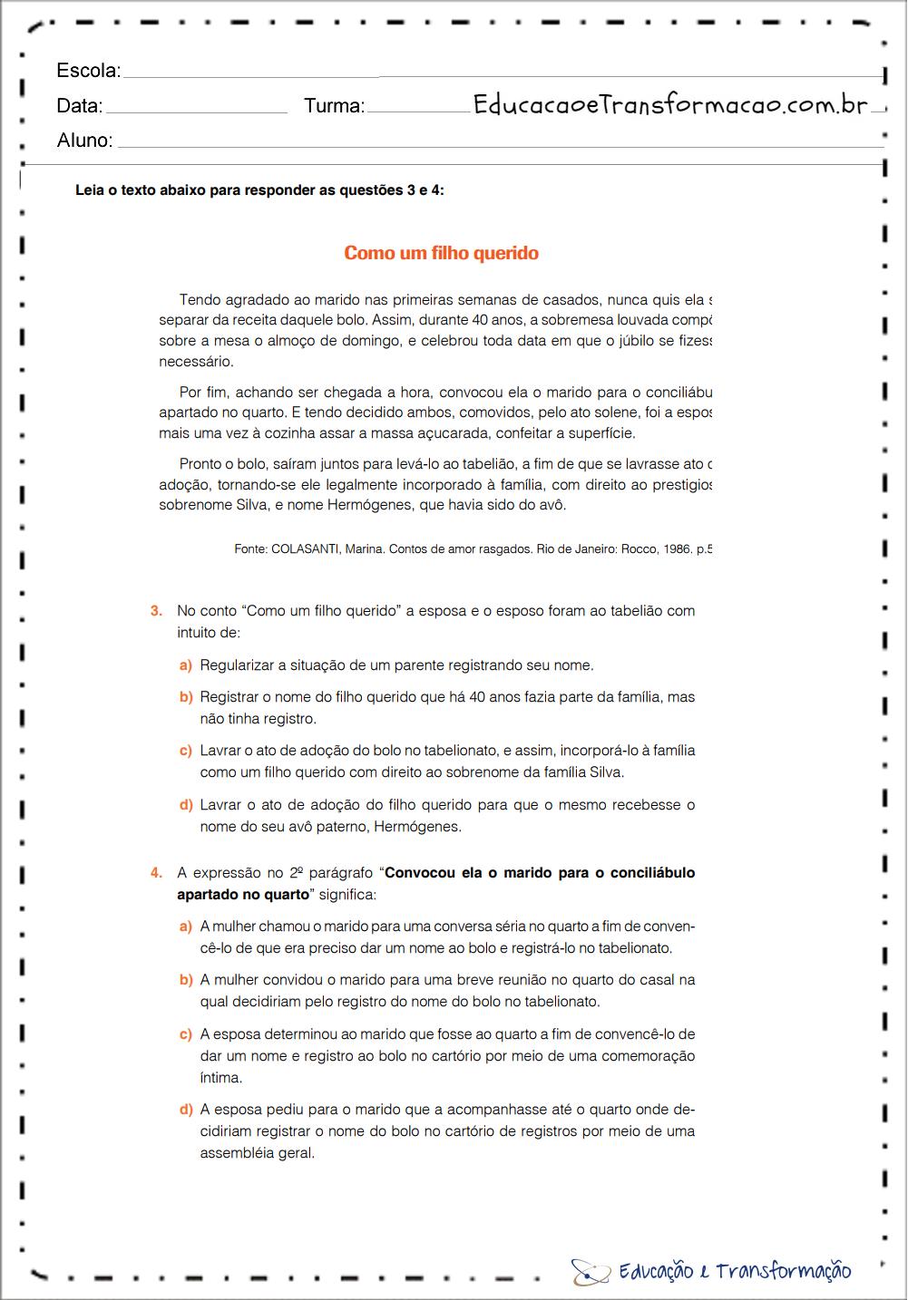 Atividades de Português 9 ano – Para imprimir