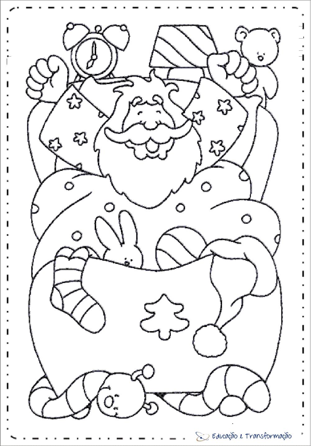 Acordando Desenhos De Papai Noel Para Colorir Educacao E