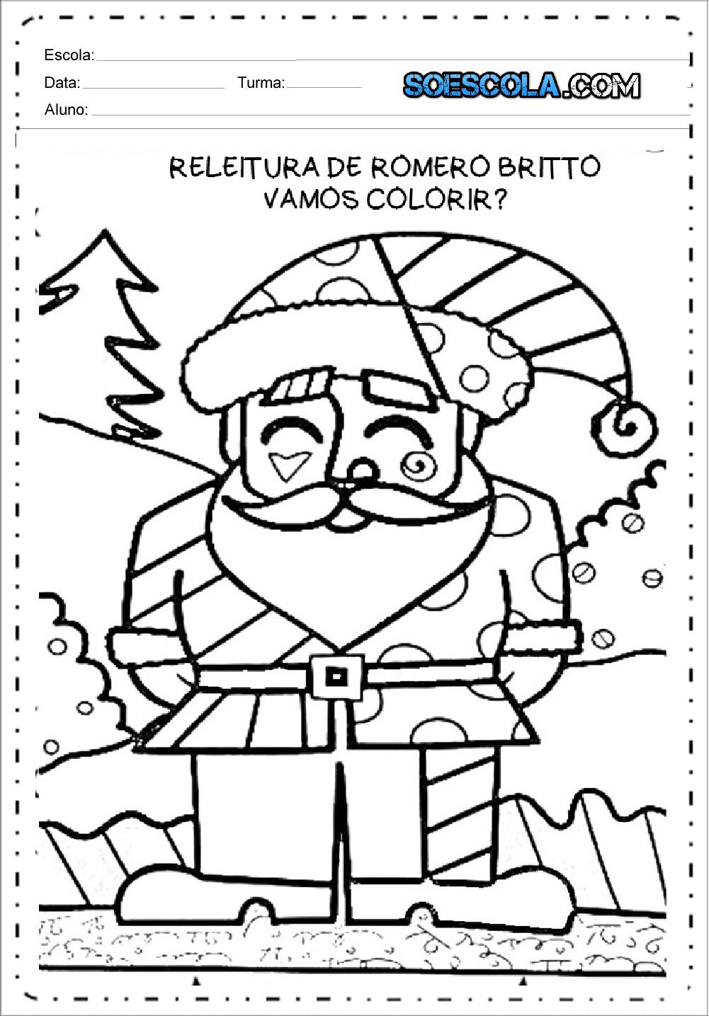 Papai Noel Releitura Romero Britto Desenhos Do Natal Para