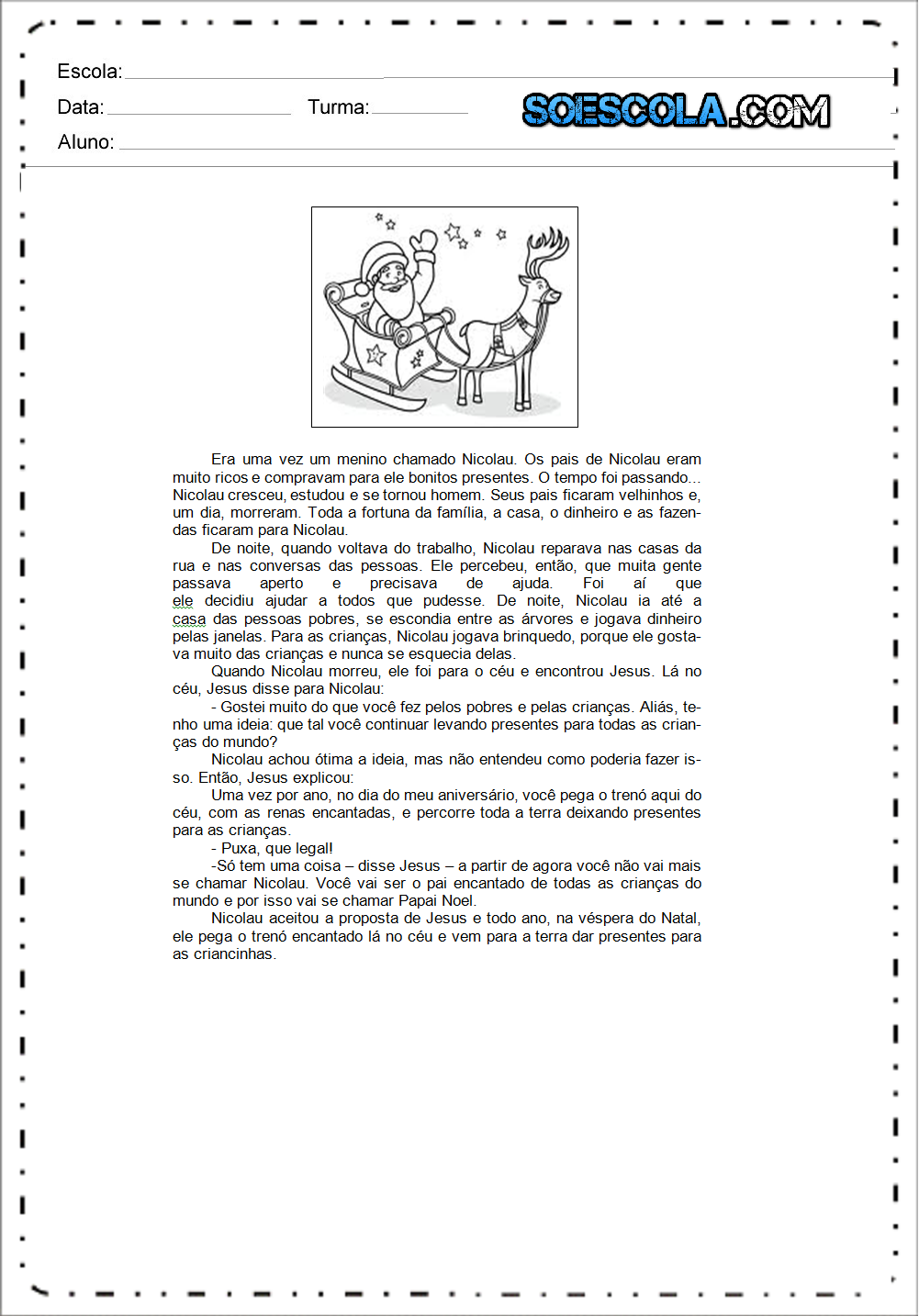 bbb33210b160 A história do Papai Noel - Texto sobre Natal para copiar e imprimir