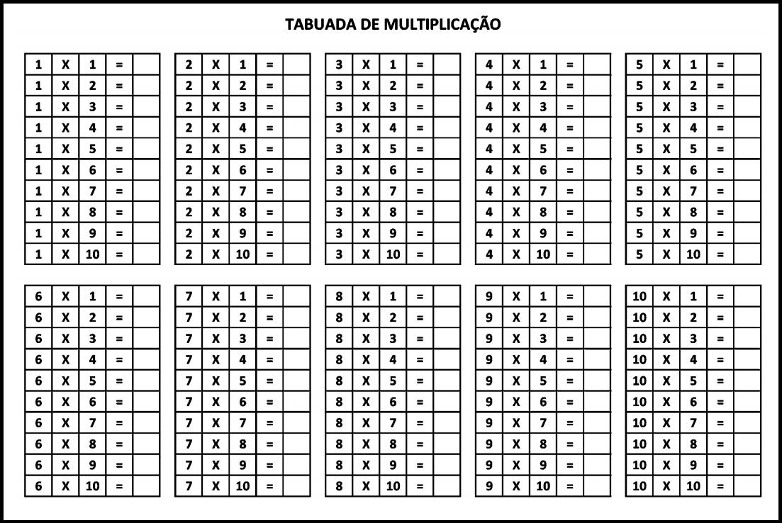 Tabuada para imprimir - Tabuada da Multiplicação do 1 ao 10 sem resultados