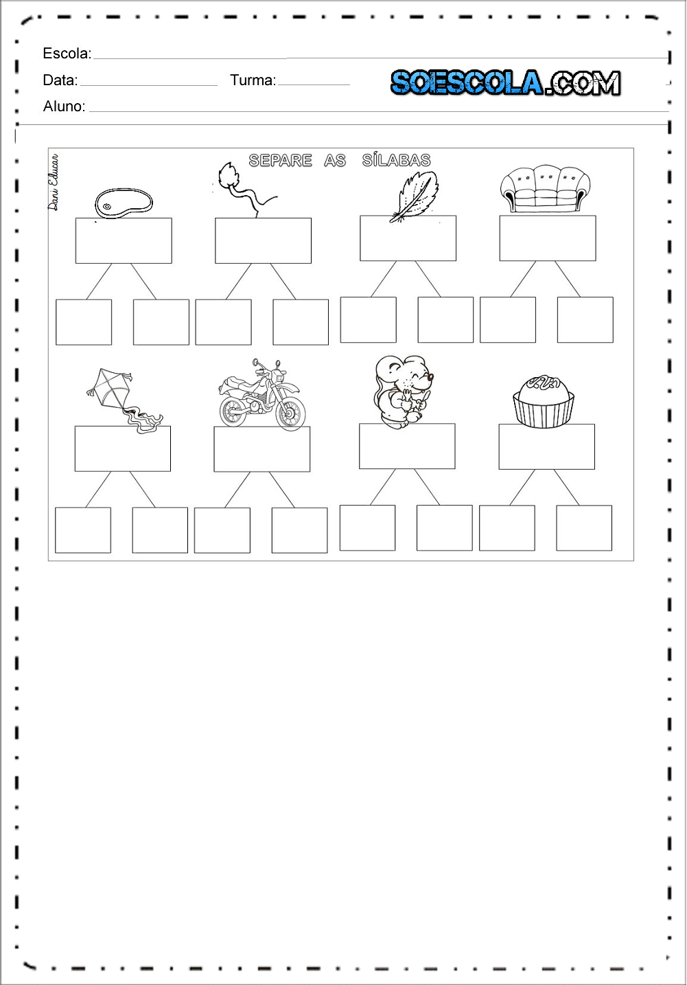 Atividades de Separação de Sílabas - Divisão Silábica para imprimir