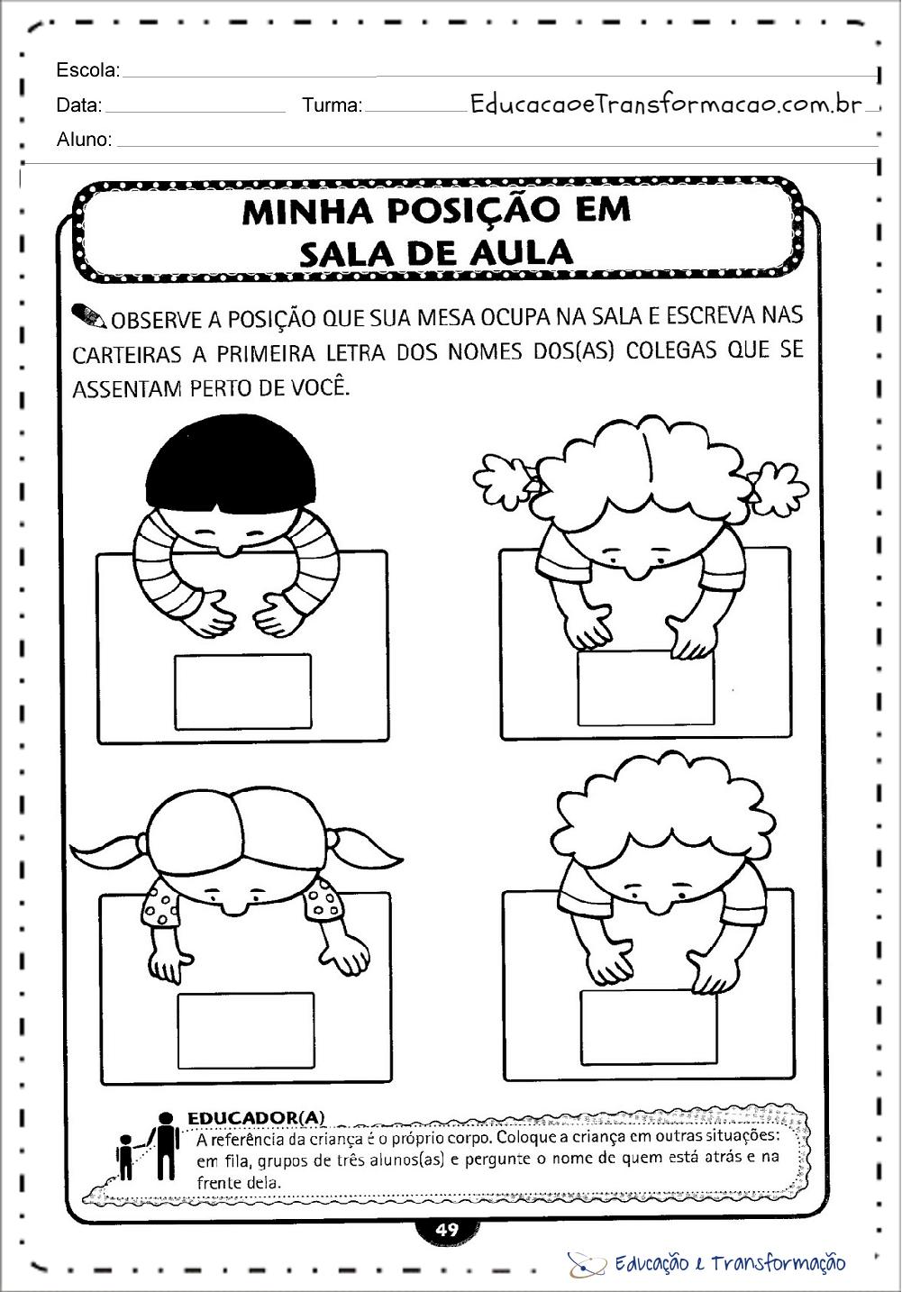 Atividades de volta às aulas para imprimir - Dinâmicas e Brincadeiras