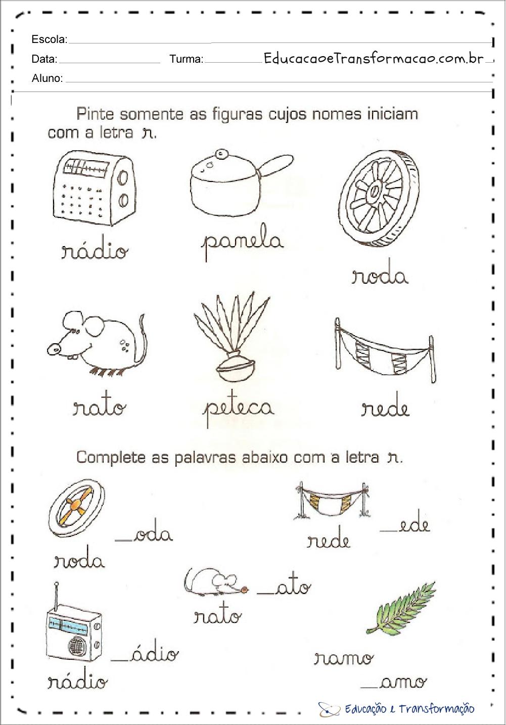 Atividades com Letra Cursiva –Grafia Cursiva – Traçado e Letra