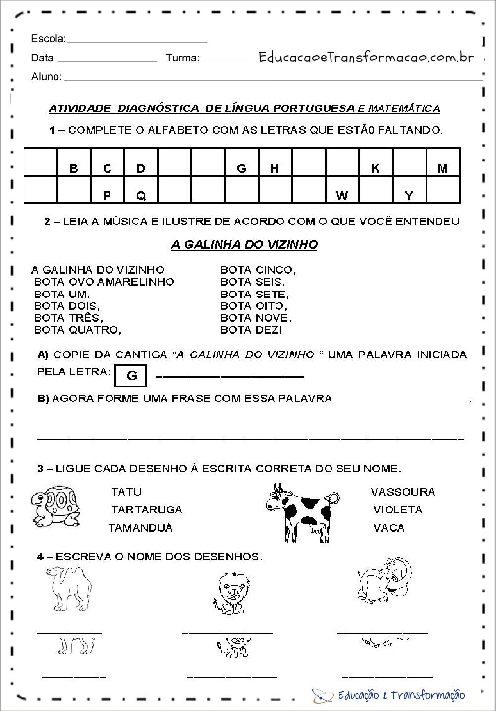 Atividades volta às aulas 2 ano - Sondagem Inicial de Português e Matemática