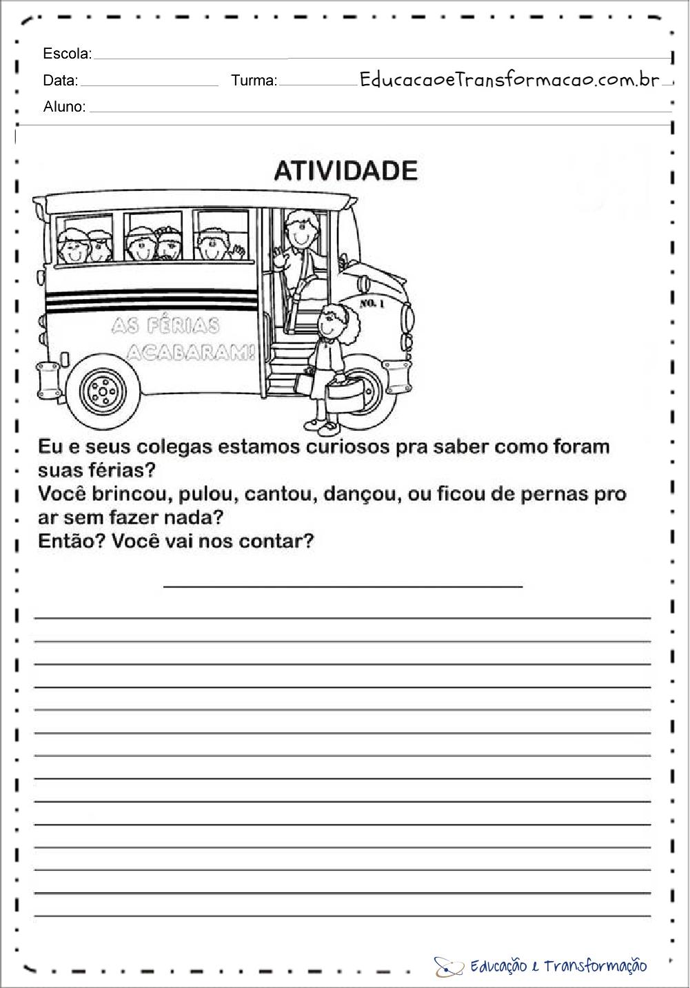 Atividades Volta às Aulas para imprimir - Atividades para Inicio do Ano Letivo.