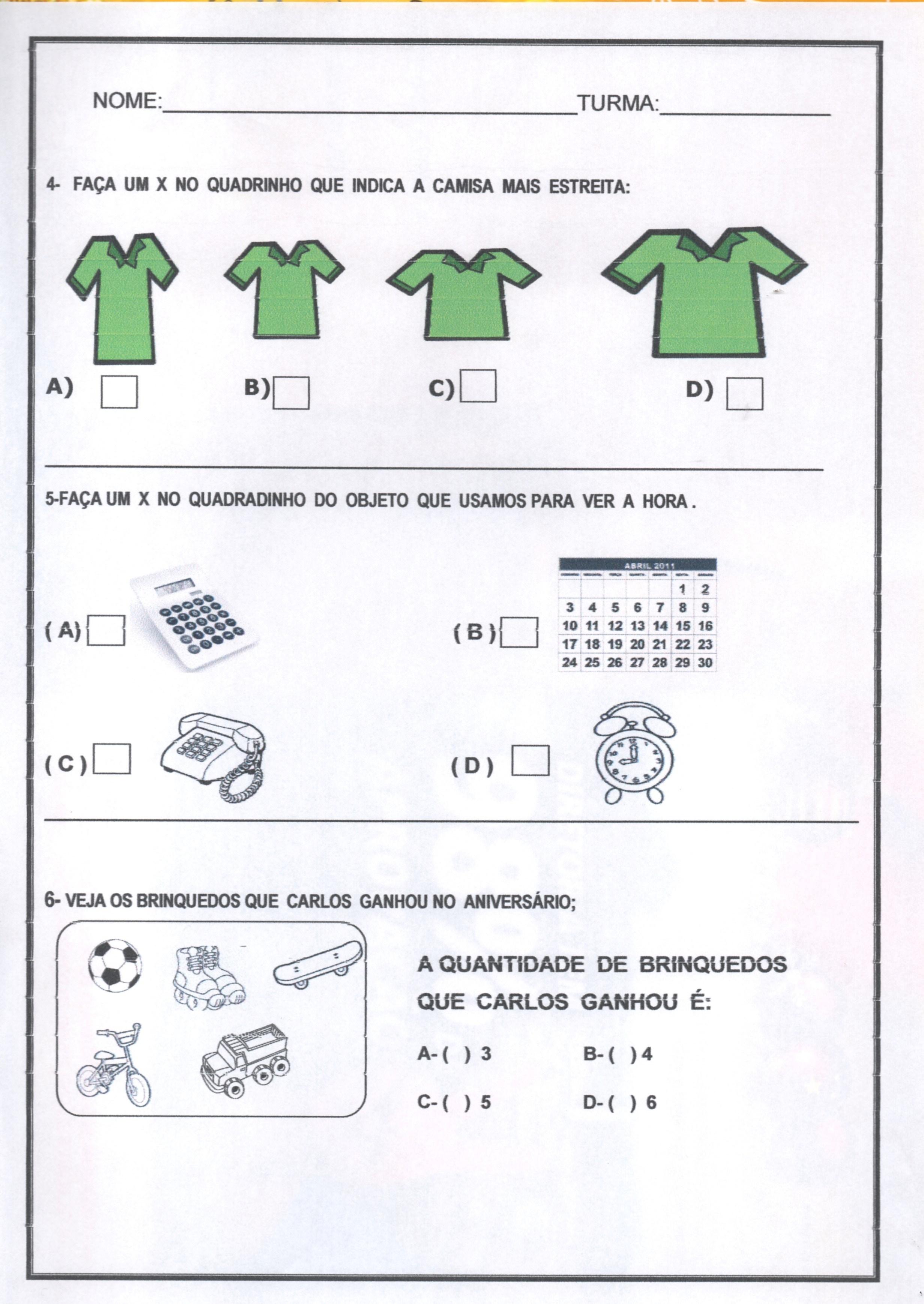 Avaliação diagnóstica 1 ano de Português e Matemática