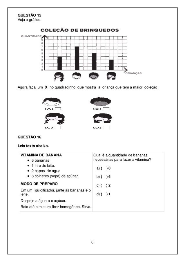Avaliação Diagnóstica 2 ano de Português e Matemática