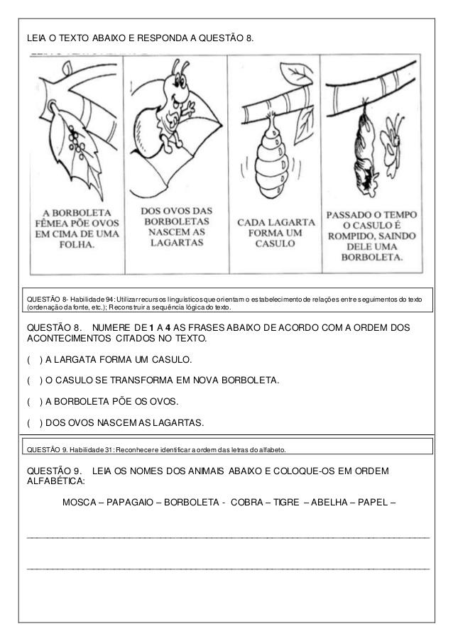 Avaliação Diagnóstica 3 ano de Português e Matemática