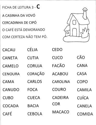 Fichas de Leitura com frases