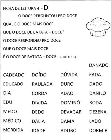 Fichas de Leitura com Frases para imprimir
