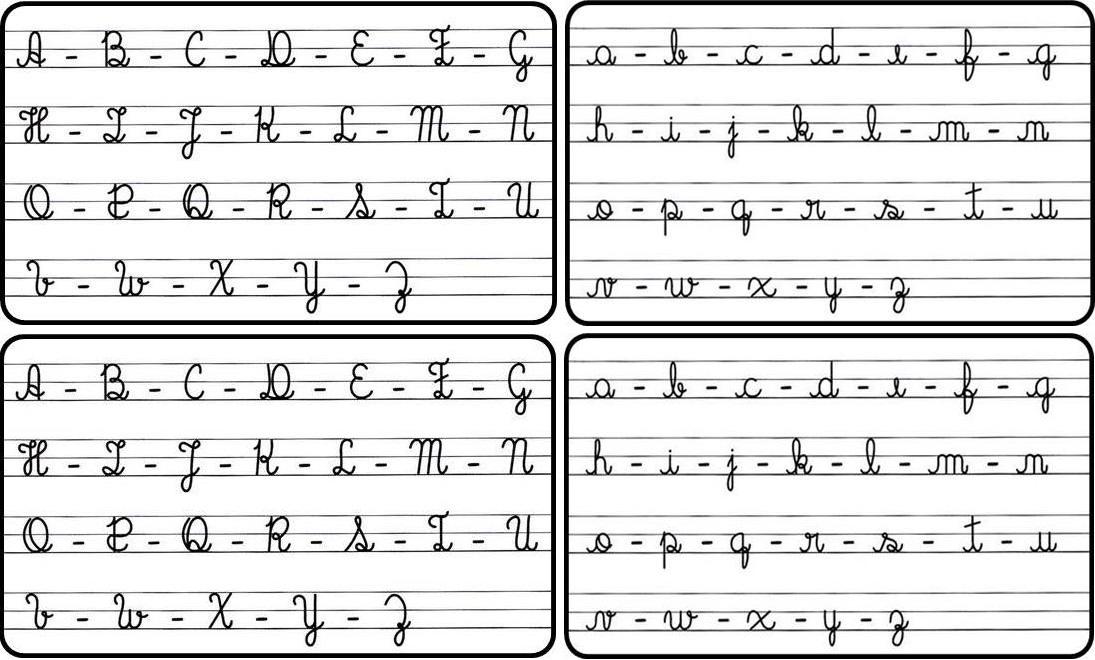 Ficha do Alfabeto Maiúsculo e Minúsculo com letras cursivas e bastão