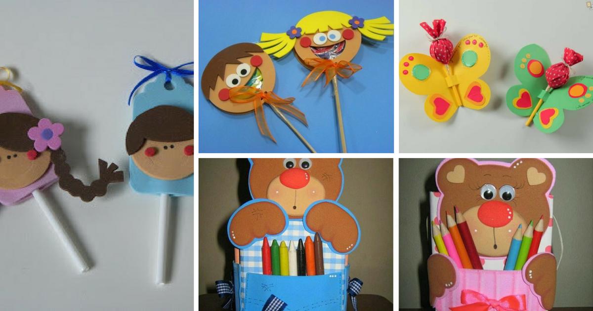 lembrancinha dia das criancas eva ursinho porta pirulito escola artesanato…