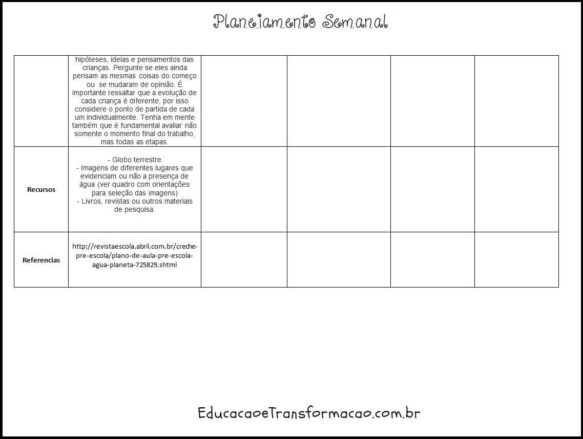 Modelo de Planejamento Semanal Escolar para imprimir
