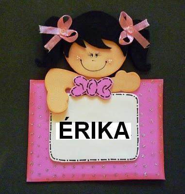 Modelos de Crachá em EVA para Educação Infantil – Menina