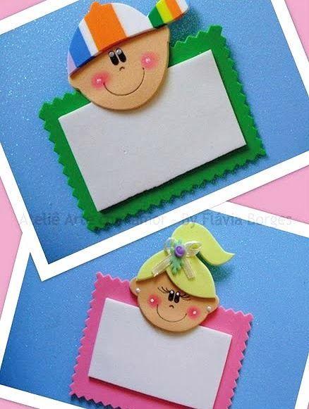 Modelos de Crachá em EVA para Educação Infantil – Menina e Menino