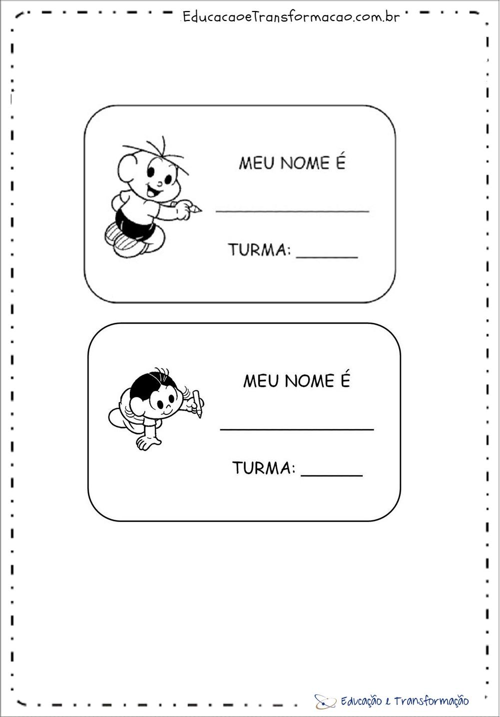 Modelos de crachá para imprimir - Crachás em Eva da Educação Infantil