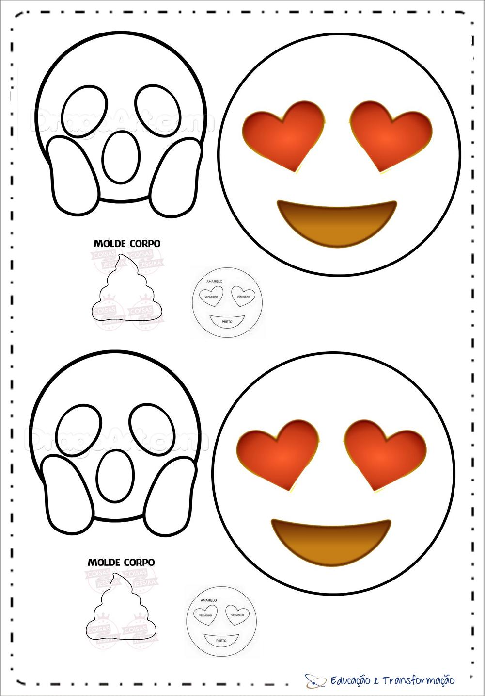 Moldes de Emoji para imprimir - EVA e FELTRO - Artesanato e Decoração