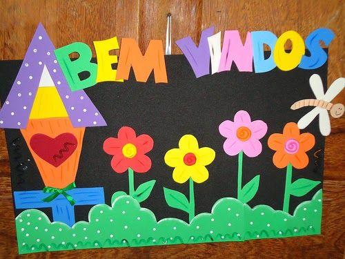 Mural de boas vindas para escola com moldes - Painéis e cartazes em eva