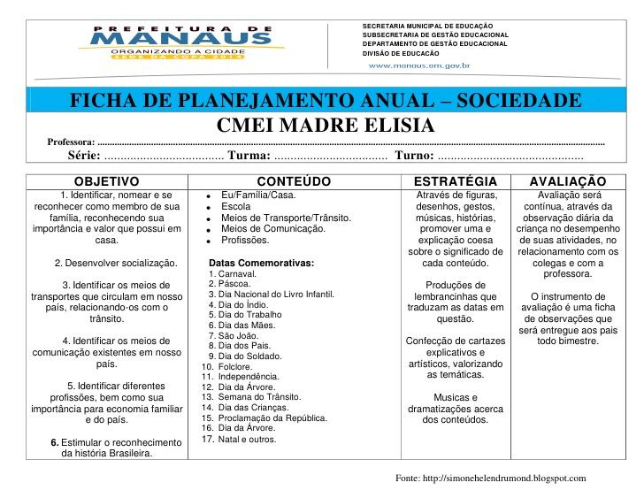 Planejamento Anual para Jardim 1 de Linguagem e Escrita – Para imprimir