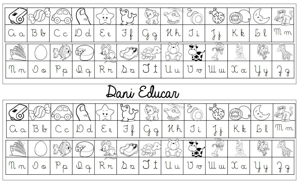 Tabela alfabeto com letra cursiva para imprimir