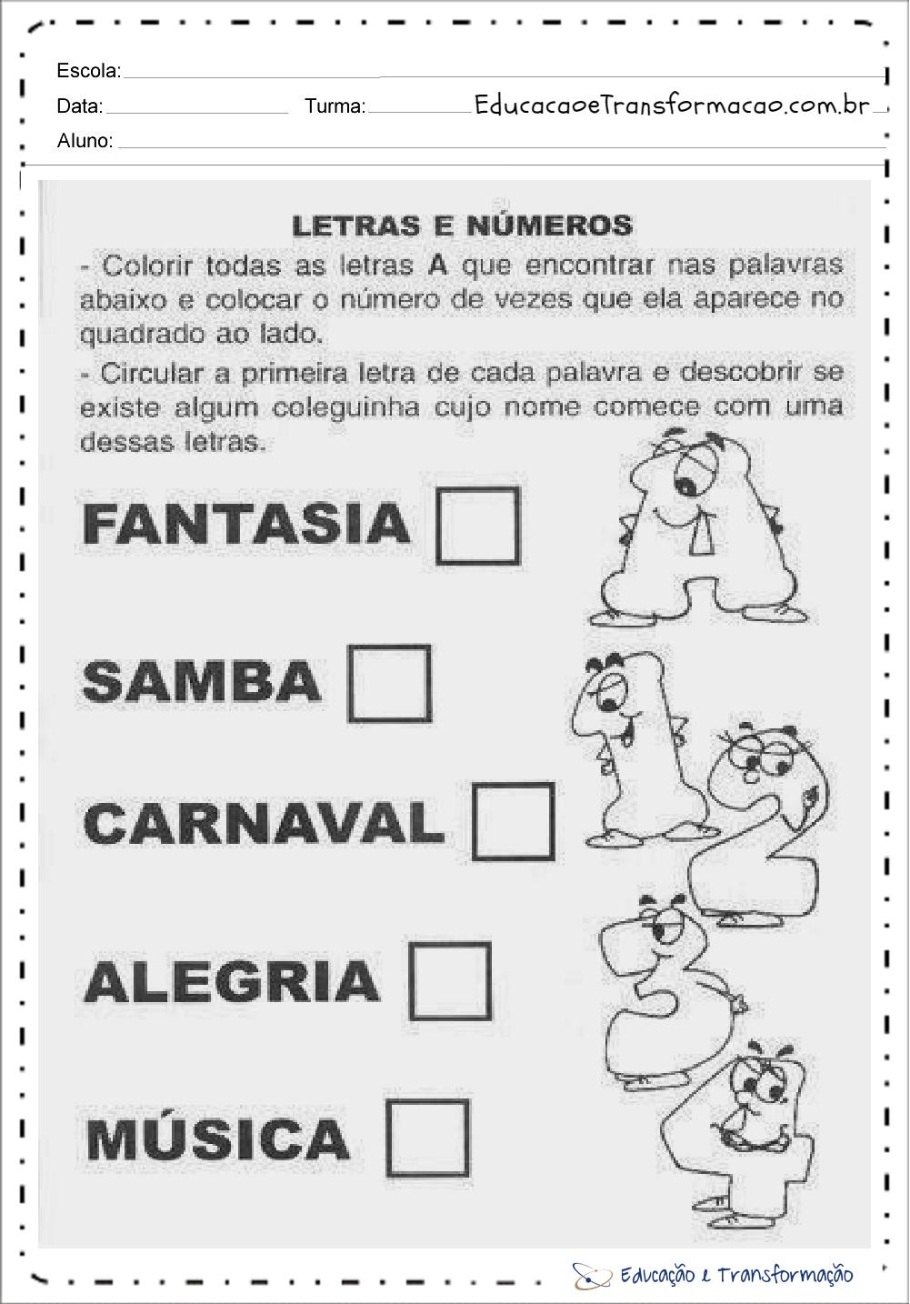 Atividades de Carnaval 1 ano – Letras e Números