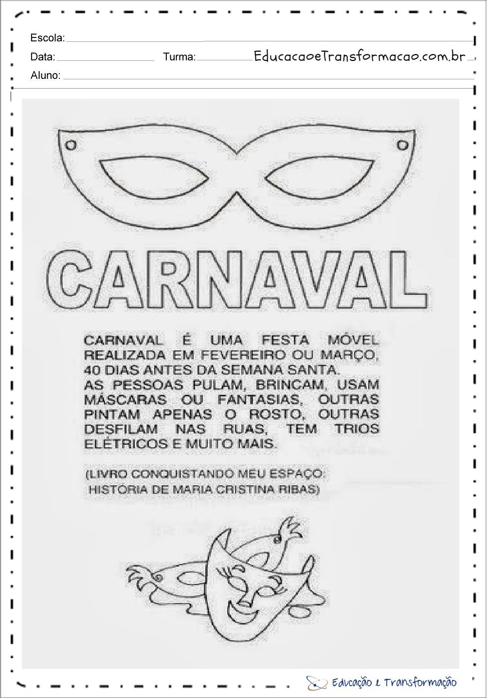 Atividades de Carnaval 1 ano para imprimir e colorir