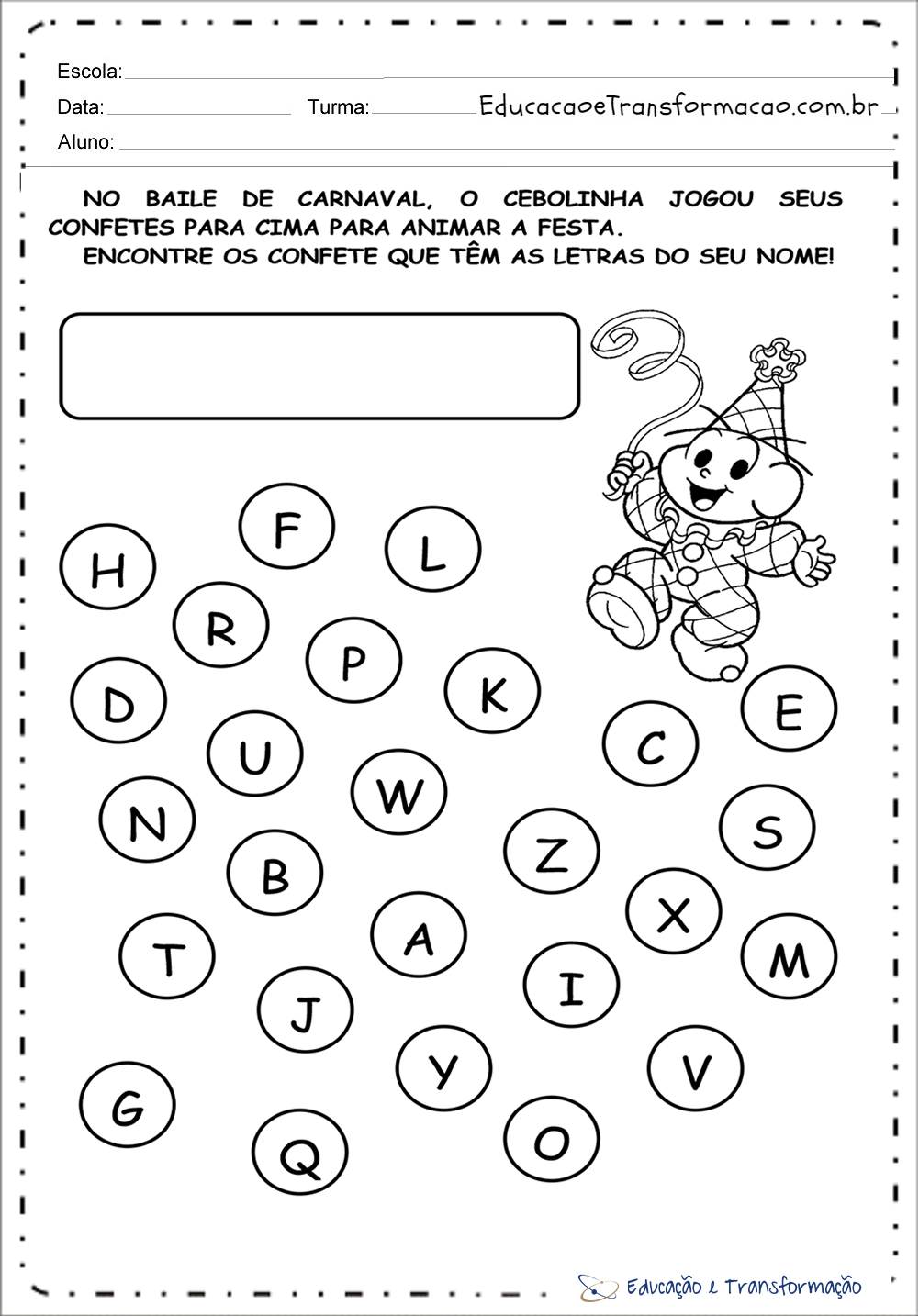 Muito Atividades de Carnaval para Educação Infantil - Encontre as letras  GE24
