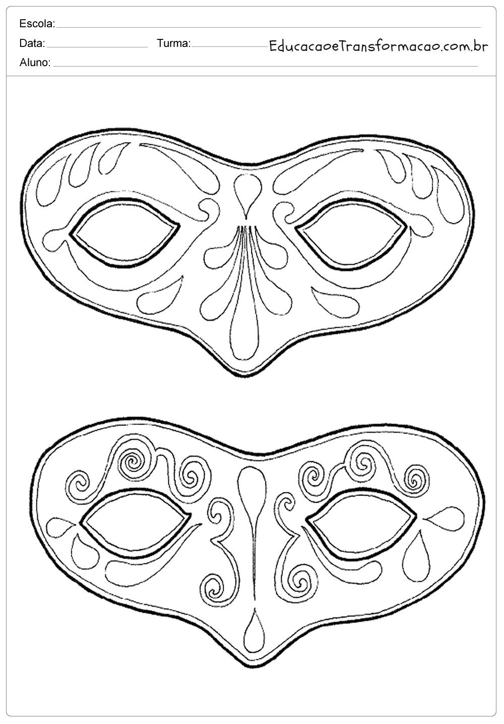 Atividades de Carnaval Educação Infantil – Máscaras para Colorir
