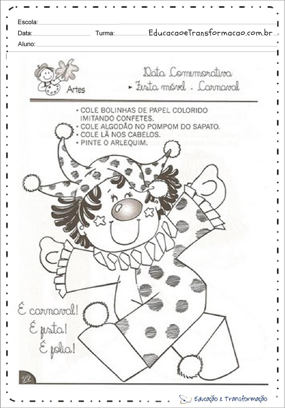 Atividades de Carnaval Educação Infantil para imprimir