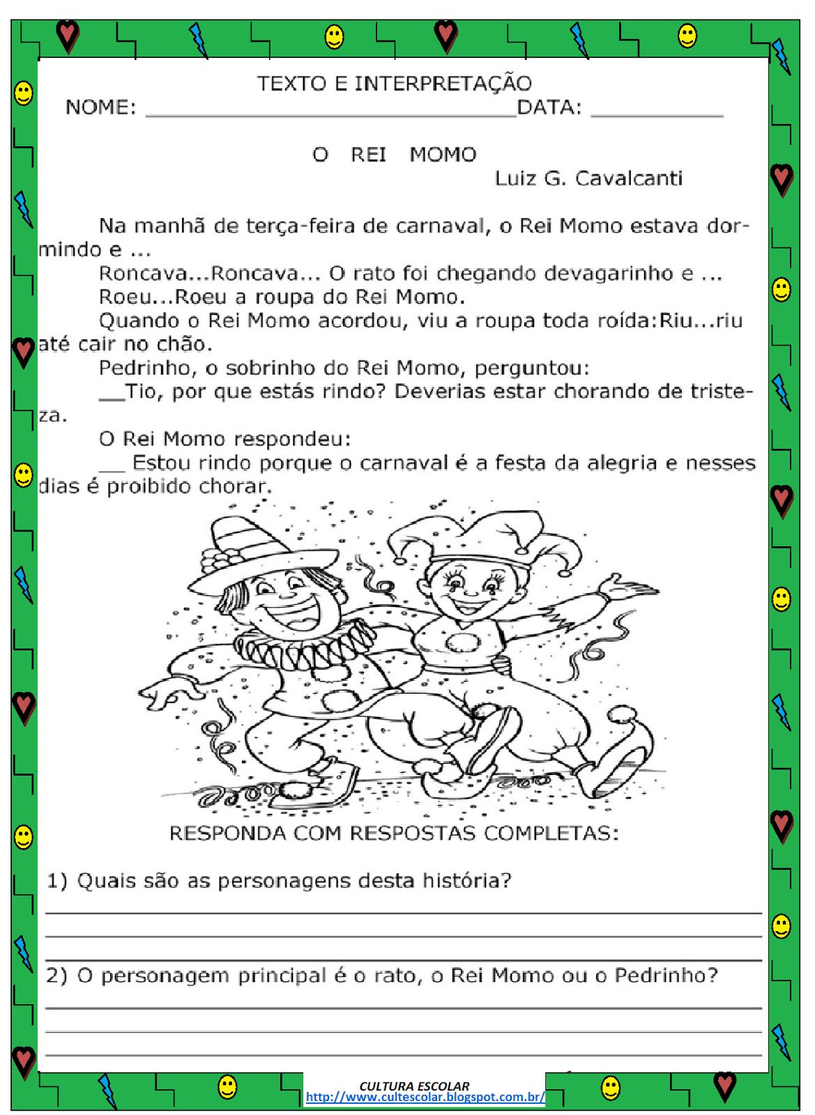 Atividades de carnaval para ensino fundamental – Interpretação de Texto