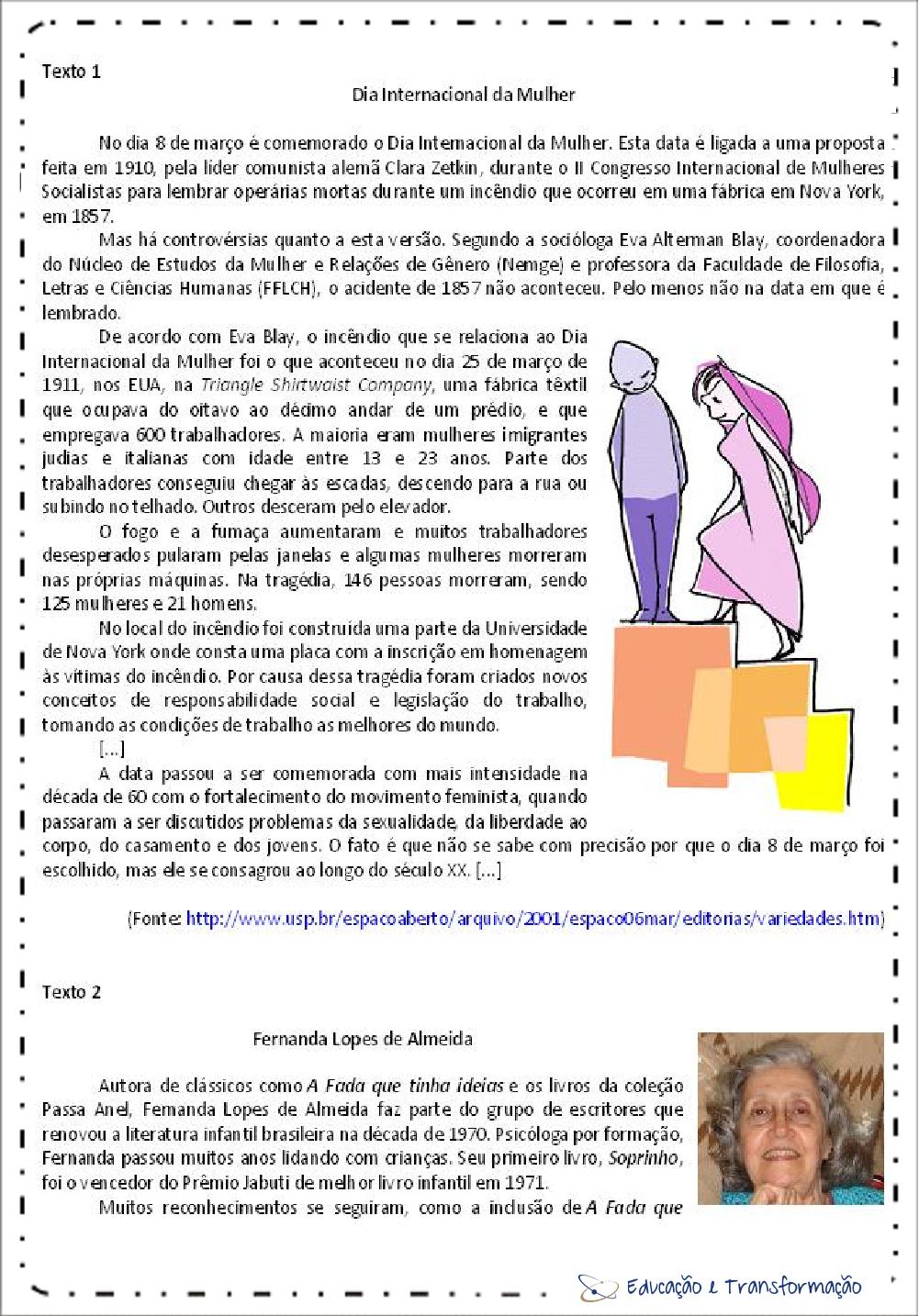 Atividades de Interpretação de Texto dia da mulher – Para imprimir