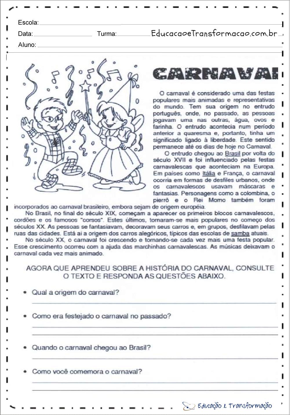 Atividades de Interpretação de Texto Carnaval