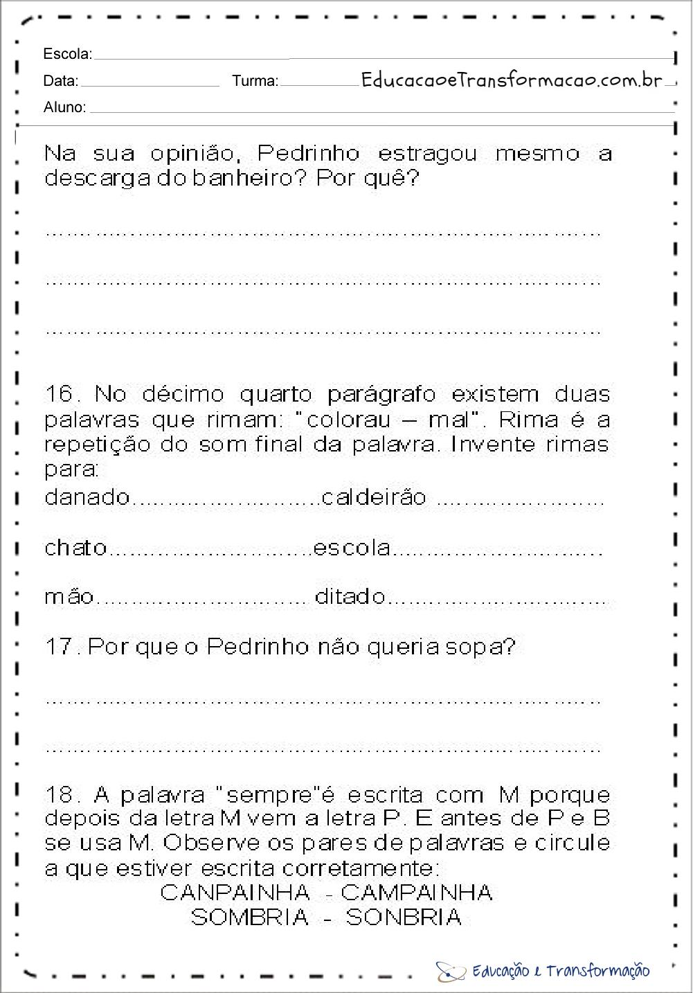 Atividades de Interpretação de texto volta às aulas para imprimir